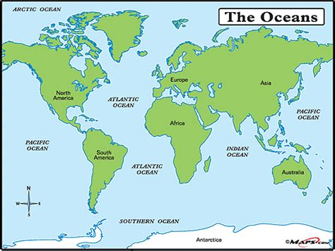 map of the oceans science year four oceans and seas