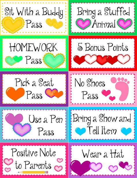 printable reward tickets classroom free heart behavior coupons and editable template in