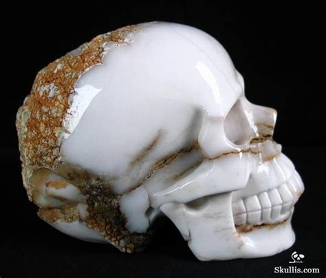 White Calcedony 4 3 quot white chalcedony carved skull realistic