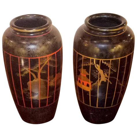 Painted Japanese Vases by Pair Of Japanese Painted Vases For Sale At 1stdibs