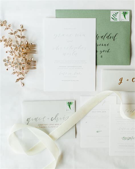 Fern Paper Wedding Invitation Kits by Understated Green Calligraphy And Fern Wedding Invitations