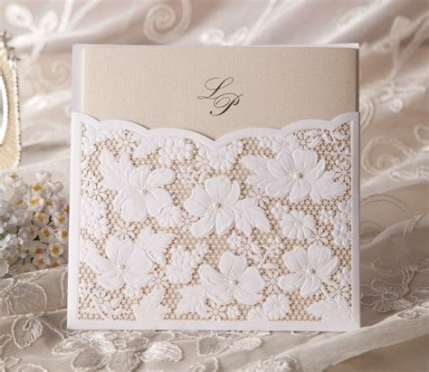 wedding sts for card lace rhinestone pearls wedding invitation set for 100