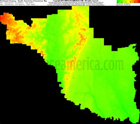 carolina elevation map richland county south carolina usgs topographic maps on cd