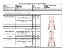 Dress Spec Sheet by Box Pleated Dress Tech Pack