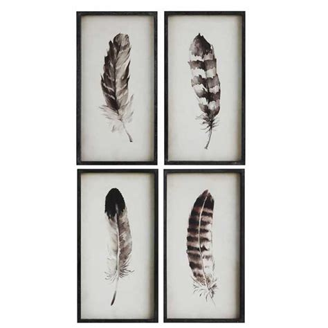 Monochrome Home Decor framed feather prints set 4