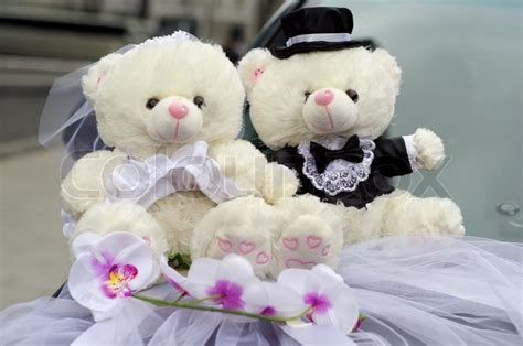 Rumauma Exclusive Teddy Hers For Anniversary Gift wedding car decoration of bears and groom stock photo colourbox