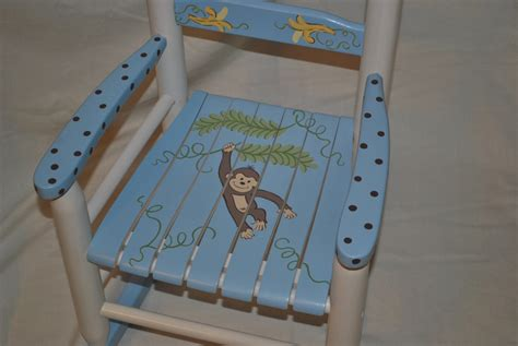 rocking chair boys monkey with bananas baby shower