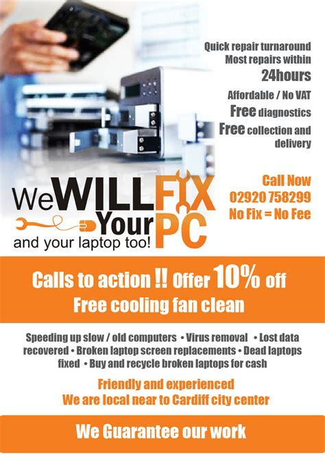 bold modern flyer design design for we will fix your pc