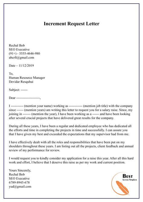 raiseincrement request letter format sample