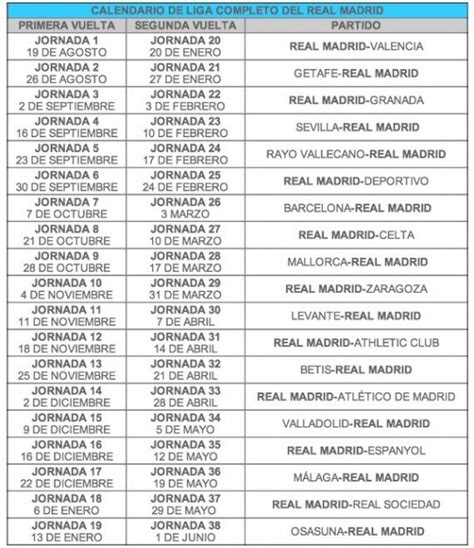 Calendario De Liga Real Madrid Calendario Real Madrid Imagui