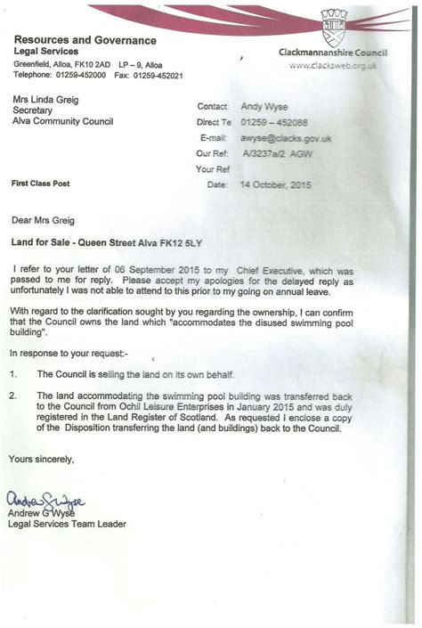 Sle Letter Not Satisfied Service Land For Sale At Johnstone Park Update Alva Community Council