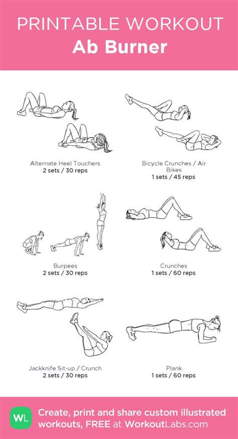 printable exercise program for beginners ab burner my custom printable workout by workoutlabs