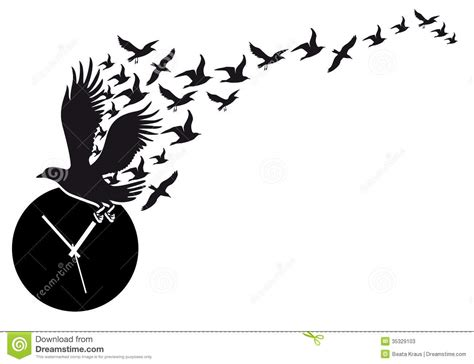 Beautiful Wall Clocks by Flying Birds With Clock Vector Stock Photos Image 35329103