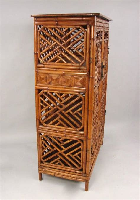 chinese bamboo kitchen cabinet for sale at 1stdibs chinese painted bamboo cabinet with interior drawers and