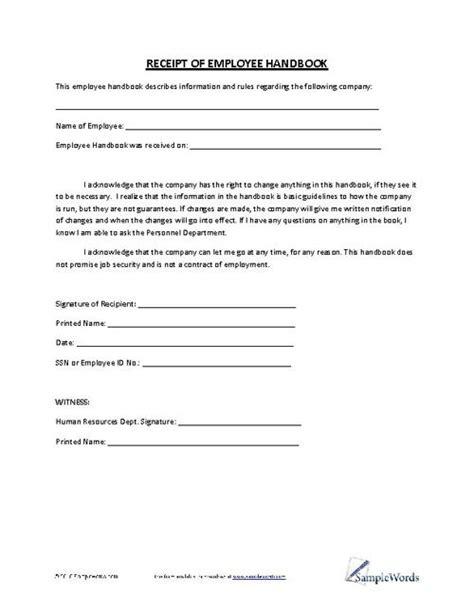 Business Letter Handbook receipt of employee handbook business forms