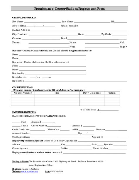 registration template enrollment form template images