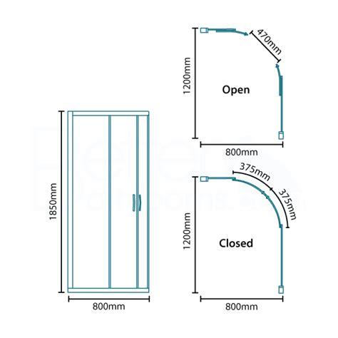 Shower Door Dimensions Aquafloe 6mm 1200 X 800 Offset Sliding Door Quadrant Enclosure