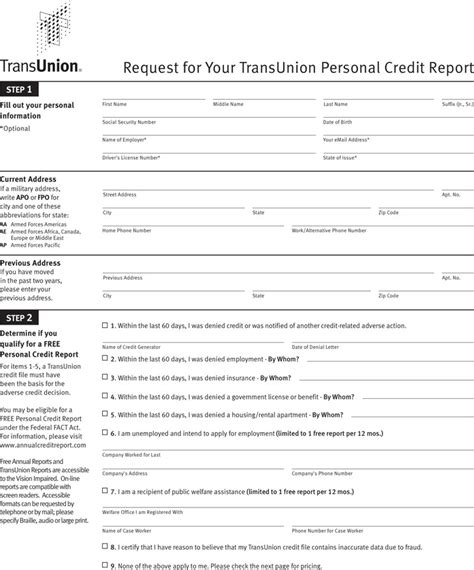 annual credit report request template free