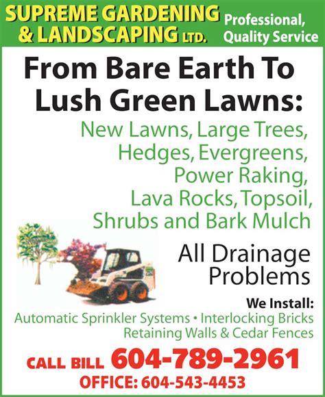 Gardening Ads Supreme Gardening Landscaping Ltd Surrey Bc 8563