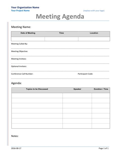 meeting agenda form in word and pdf formats