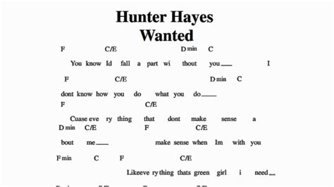 tattoo hunter hayes chords no capo wanted hunter hayes guitar chords no capo