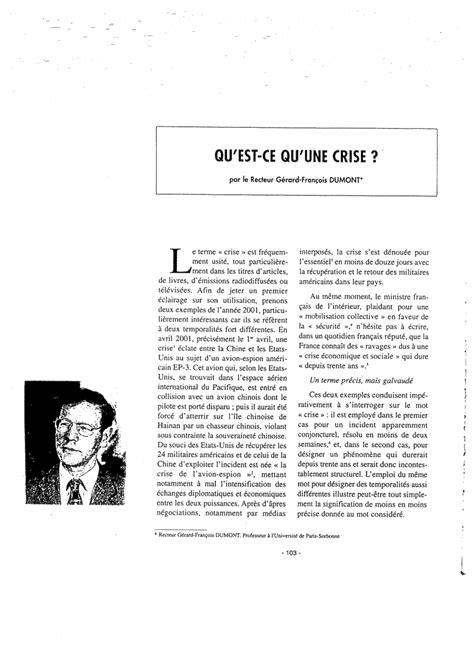 """(PDF) QU'EST-CE QU'UNE « CRISE » ? [What is a """"crisis""""?]"""