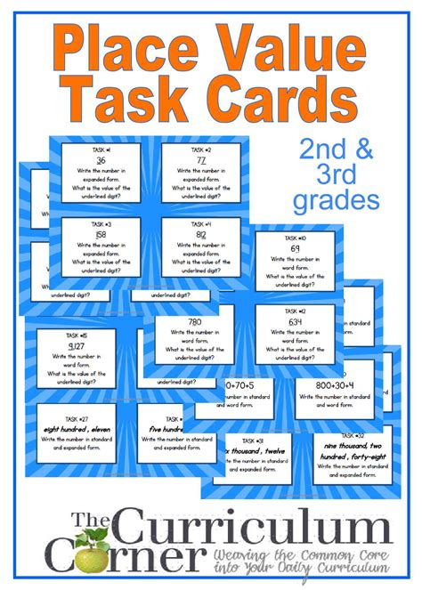 number place value cards printable place value task cards for primary classrooms curriculum