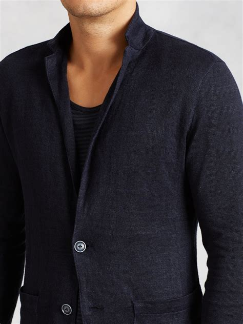 varvatos patch pocket sweater blazer in blue for lyst