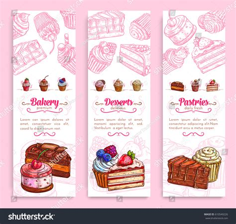 Strawberry Duts bakery pastry shop desserts banner set stock vector