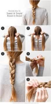 Braided hairstyle how to sweet simple braid in braid via