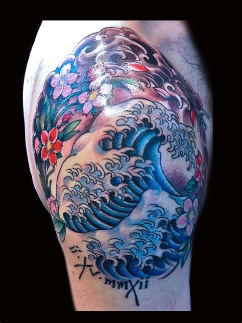 aquatic tattoos hohusai wave water and cherry blossom on hip