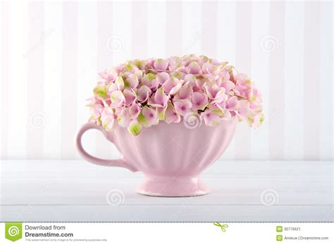 vintage background with pink hydrangea stock image image