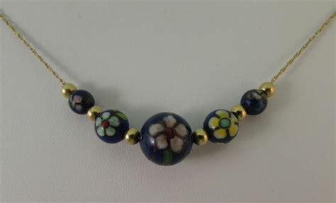 gold add a bead necklace vintage cloisonne and 14k yellow gold add a bead necklace 21 quot