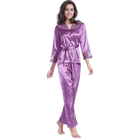 Purple V Neck Solid Pajamas 918066514 aliexpress buy satin pajamas sets lace v neck