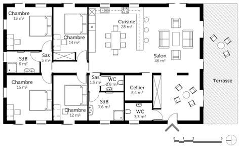 plan de maison 4 chambres avec 騁age plan maison de plain pied 160 m 178 avec 4 chambres ooreka
