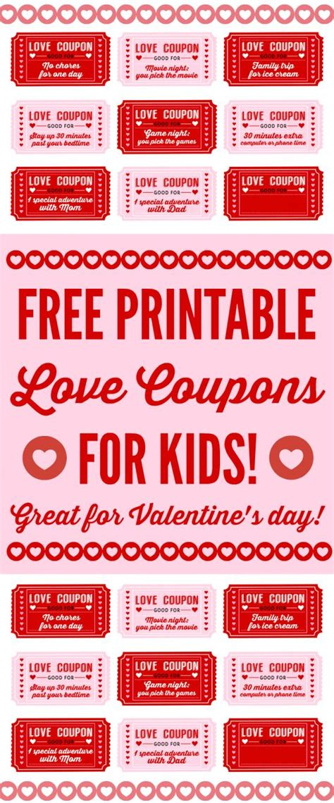 printable love culture coupons free printable love coupons for kids on valentine s day