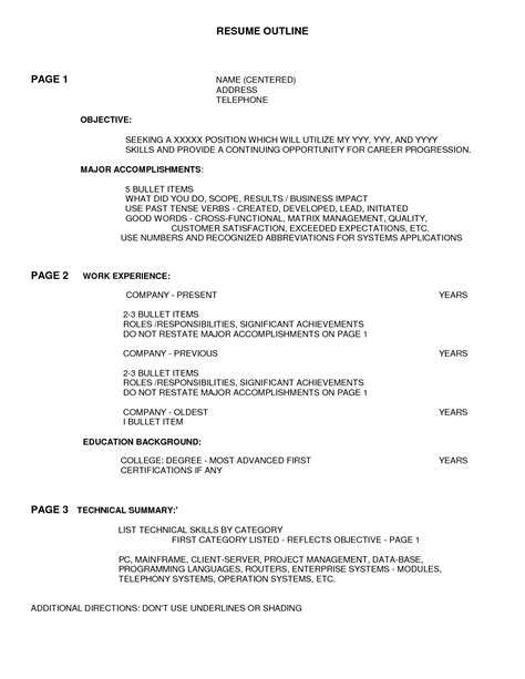 Resume Outline Exle by Outline Of A Resume 28 Images Resume Outline Resume Cv
