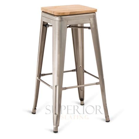Distressed Wood Counter Stools by Backless Distressed Clear Steel Eiffel Restaurant Bar