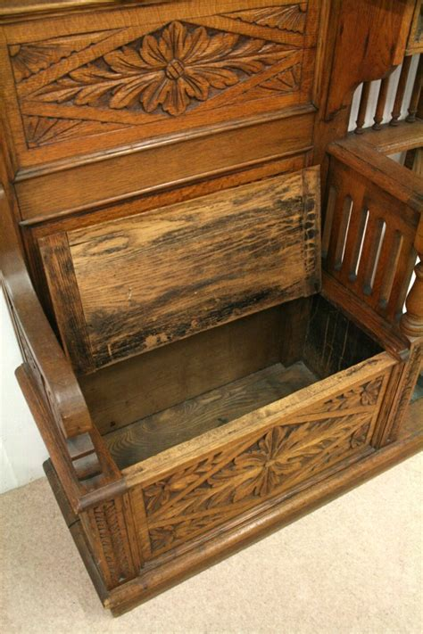 hall stand with bench antique victorian carved oak hall stand hall bench antiques co uk