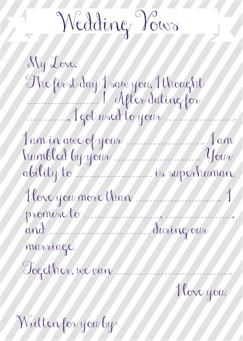 vow writing template wedding vow mad libs free printable