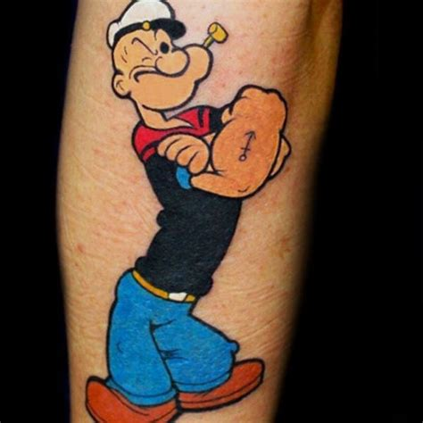 popeye anchor tattoo 70 popeye designs for spinach and sailor ideas