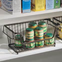 Kitchen Pantry Storage Baskets York Stackable Open Front Pantry Basket Bronze In Wire