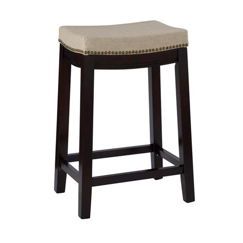 Linon 24 In Stool by Linon Home Decor Hton 24 In Walnut Cushioned Bar
