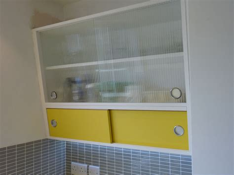1950 S Style Angled Wall Cabinet With Formica And Reeded Sliding Glass Kitchen Cabinet Doors