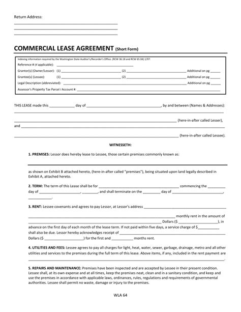 free lease agreement form free washington commercial lease agreement form pdf