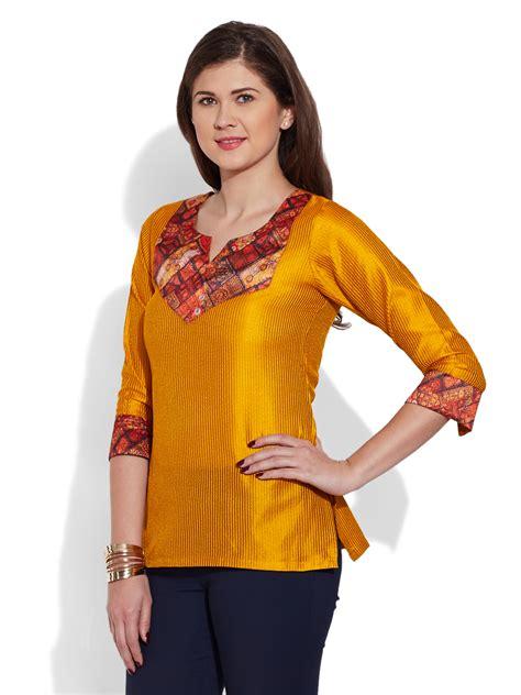 Blouse Kurti Womens Faux Silk Tunic Top Kurta Kurti Indian Ethnic