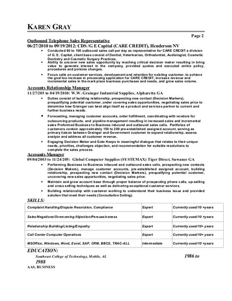 Sle Resume For Outbound Sales Gray Resume Sale Customer Services