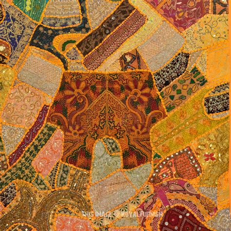 Patchwork Tapestry - 60x40 quot antique vintage heavy bead works patchwork tapestry