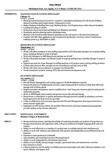 Planning Specialist Sle Resume by Planning Specialist Resume Sles Velvet