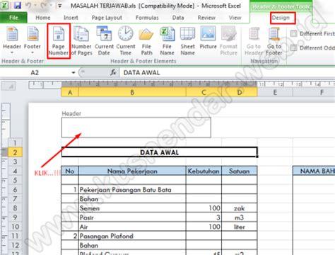 membuat nomor halaman pada excel 2010 memunculkan nomor dan tanggal di hasil print excel 2010